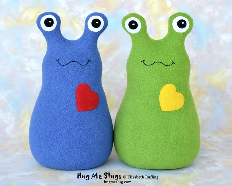 Blue and Green Hug Me Slugs stuffed animal plush art toys by Elizabeth Ruffing