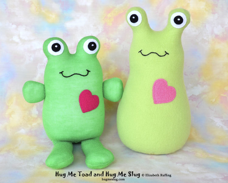 Hug Me Slug and Toad stuffed animal plush softie art toys by Elizabeth Ruffing