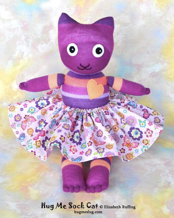 Magenta Striped Hug Me Sock Cat stuffed animal art toys by Elizabeth Ruffing Elizabeth Ruffing