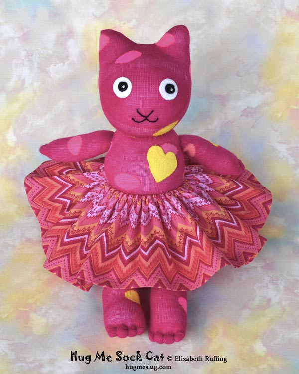 Magenta Polka Dotted Hug Me Sock Cat stuffed animal art toys by Elizabeth Ruffing Elizabeth Ruffing