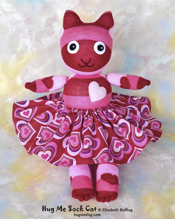 Red and Pink Striped Hug Me Sock Cat with hearts stuffed animal art toys by Elizabeth Ruffing Elizabeth Ruffing