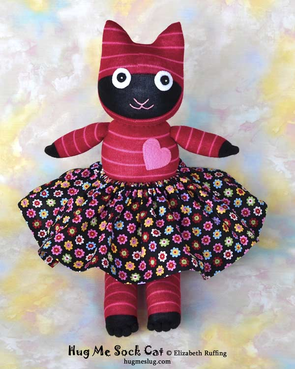 Red and Pink Striped Hug Me Sock Cat stuffed animal art toys by Elizabeth Ruffing Elizabeth Ruffing