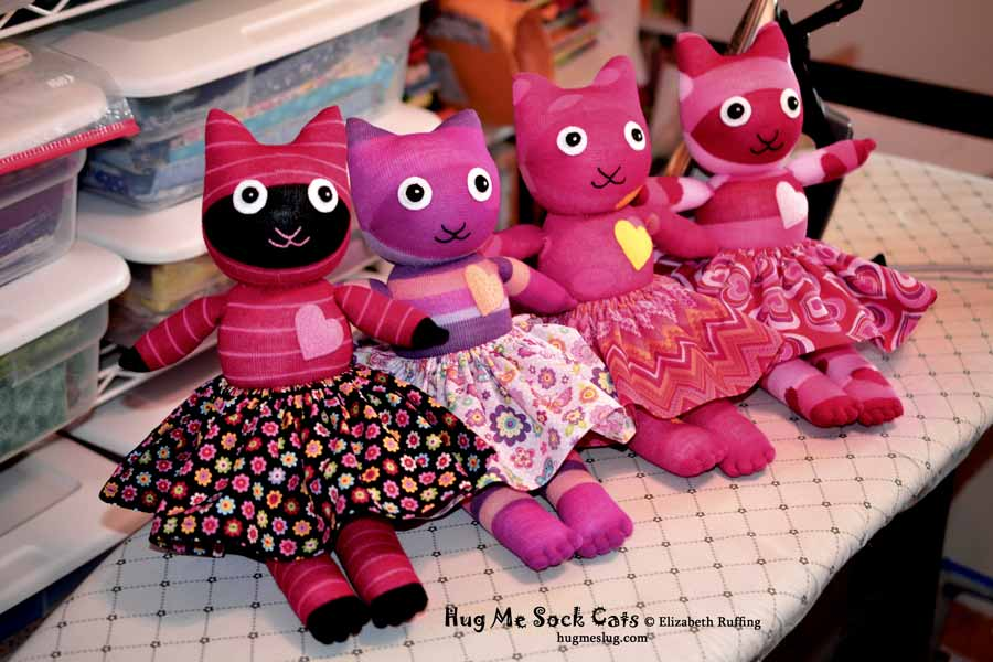 Assorted Hug Me Sock Cats stuffed animal art toys by Elizabeth Ruffing Elizabeth Ruffing
