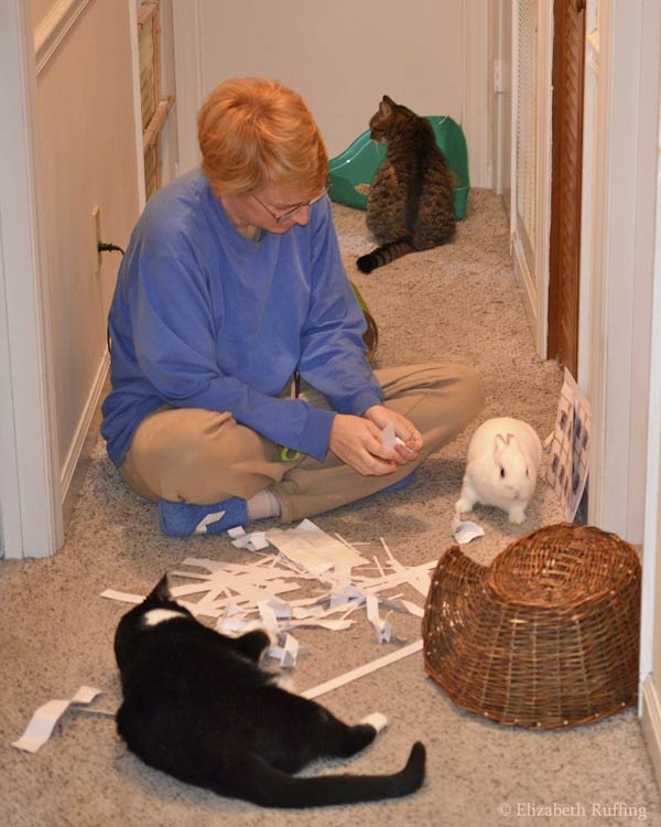 Elizabeth Ruffing with kitty cat and bunny rabbit helpers