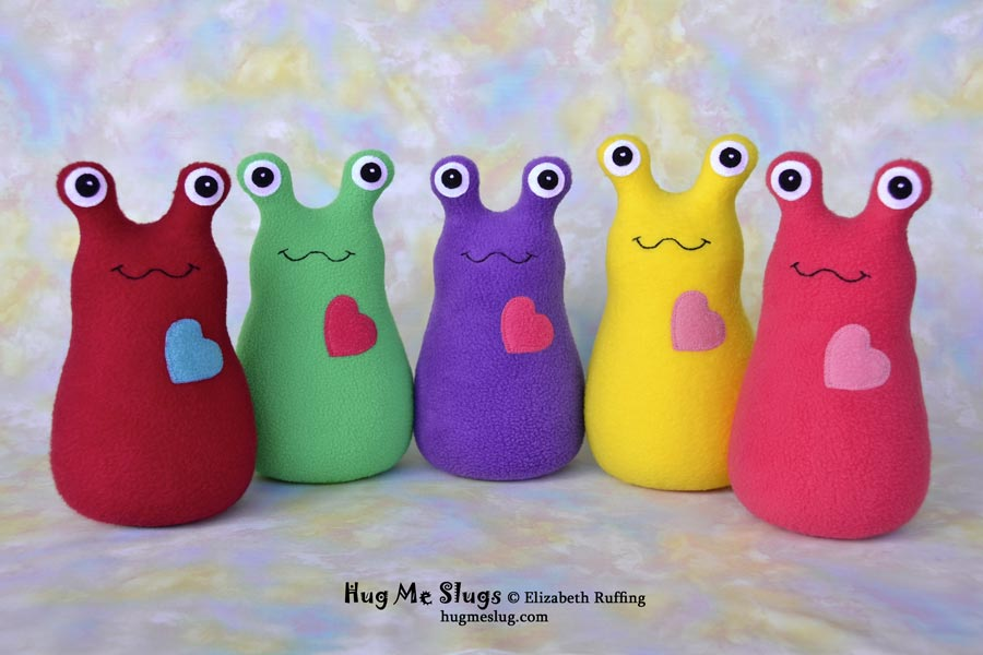 Hug Me Slugs, plush stuffed animal toys by Elizabeth Ruffing
