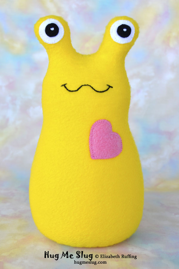 Yellow Hug Me Slug, plush stuffed animal toys by Elizabeth Ruffing