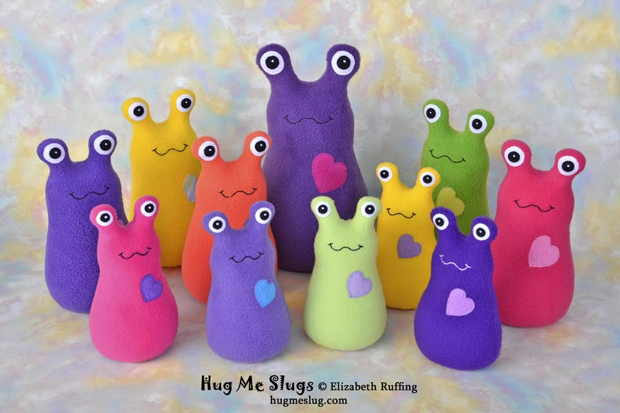 Assorted Hug Me Slugs, plush stuffed animal art toys by Elizabeth Ruffing