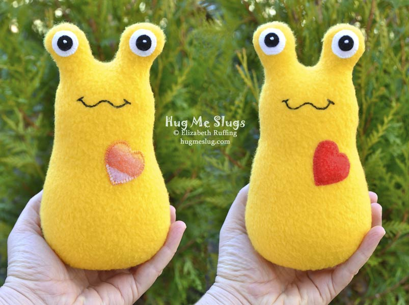 Yellow Fleece Hug Me Slugs, plush stuffed animal art toys by Elizabeth Ruffing, 7 inch
