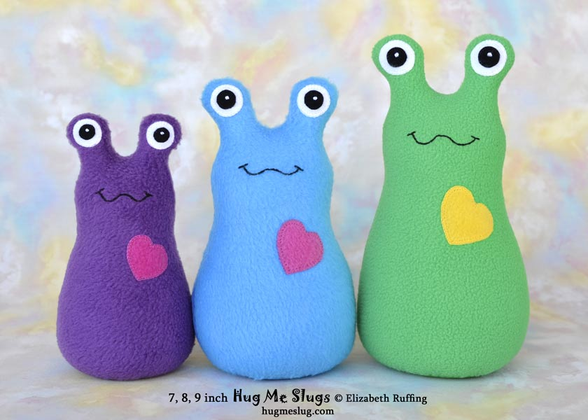 Fleece Hug Me Slugs, plush stuffed animal art toys by Elizabeth Ruffing, 7, 8, 9 inches