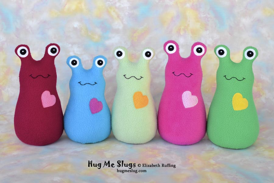 Fleece Hug Me Slugs, plush stuffed animal art toys by Elizabeth Ruffing