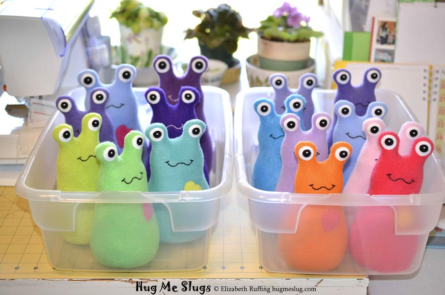 Hug Me Slugs plush toys by Elizabeth Ruffing, 7 and 8 inch
