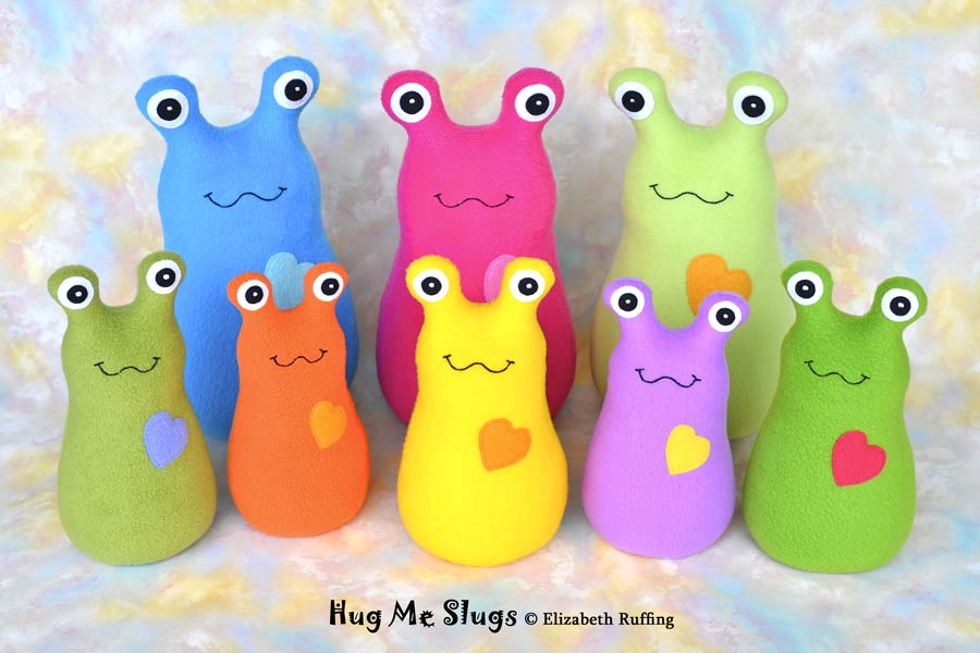 Stuffed toy Hug Me Slugs by Elizabeth Ruffing, assorted colors and sizes