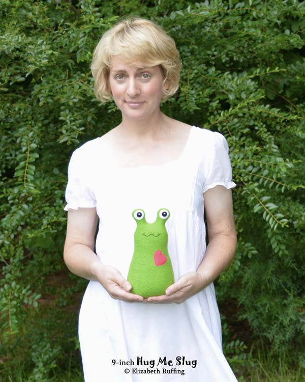 9 inch grass green stuffed toy Hug Me Slug by Elizabeth Ruffing