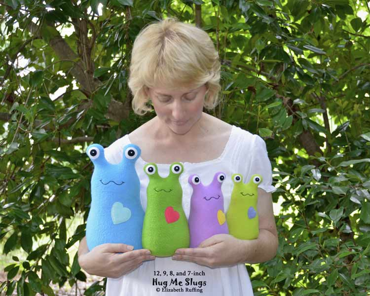 12, 9, 8., 7 inch Handmade Hug Me Slug Stuffed Animal Plush Art Toys, by artist Elizabeth Ruffing