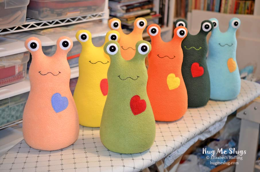 Hug Me Slugs, assorted colors, 12 inche plush toys by Elizabeth Ruffing
