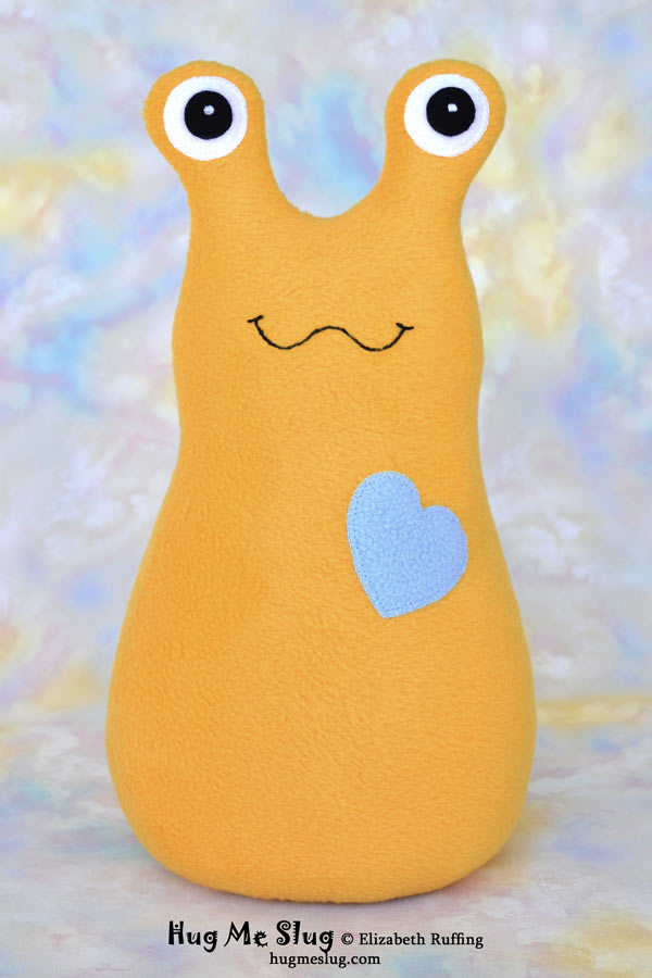 Handmade Mango-gold Hug Me Slug Stuffed Animal Plush Toy, 12 inch, by artist Elizabeth Ruffing's