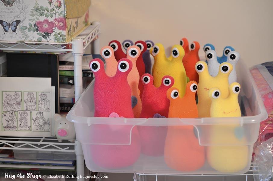 Hug Me Slugs fleece plush animal stuffed toys in progress by Elizabeth Ruffing
