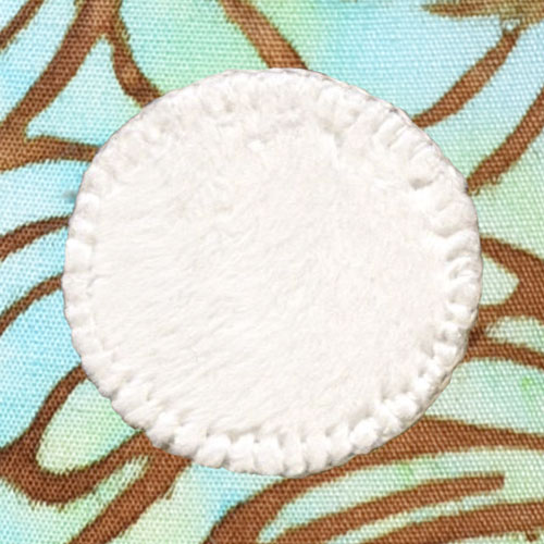 Spoonflower Minky white circle sewn with Wonder-Under