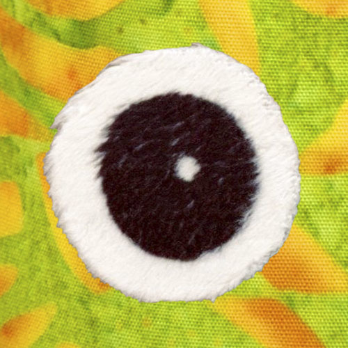 Spoonflower Minky eyeball with Wonder-Under fused to background