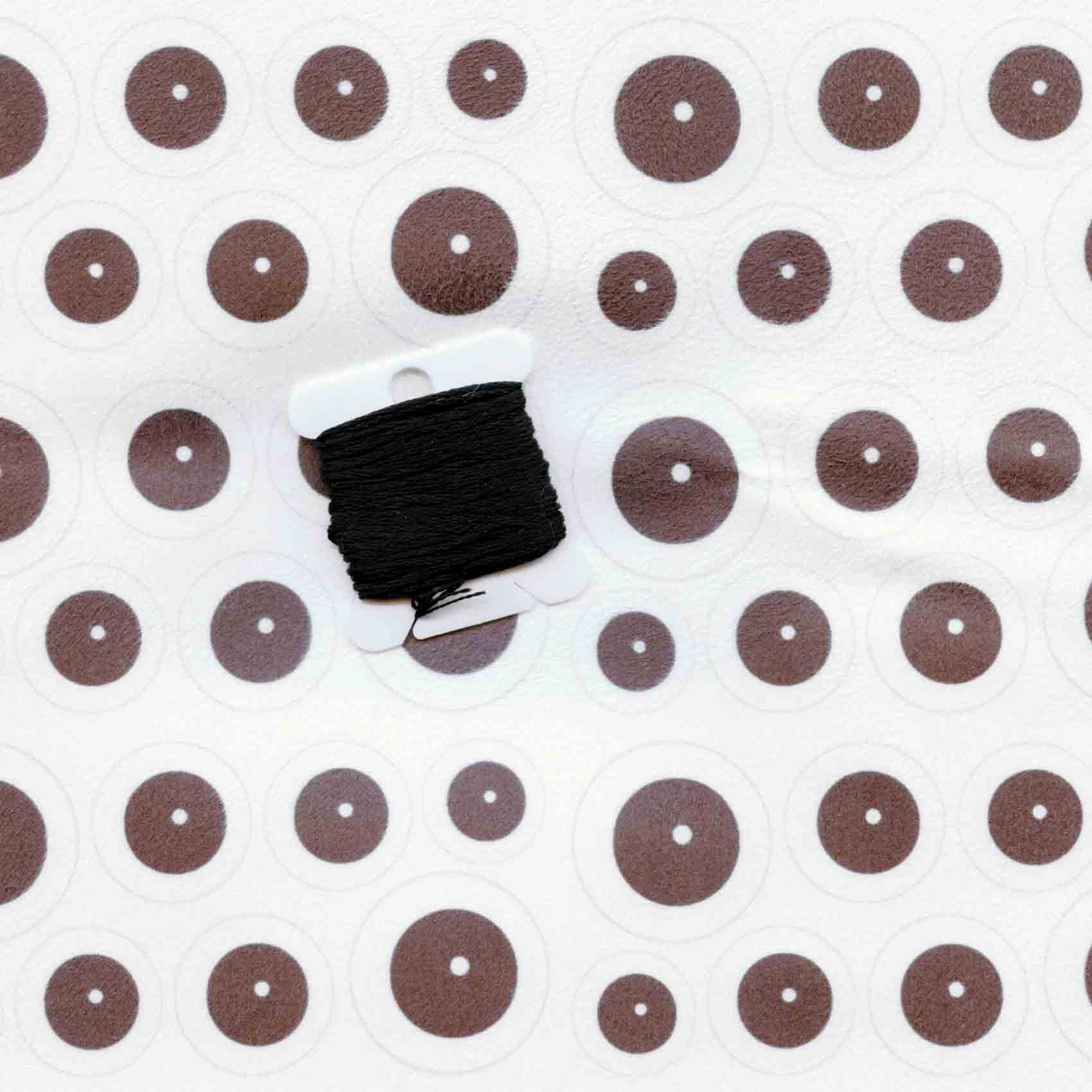 Spoonflower Faux Suede eyeballs compared to black