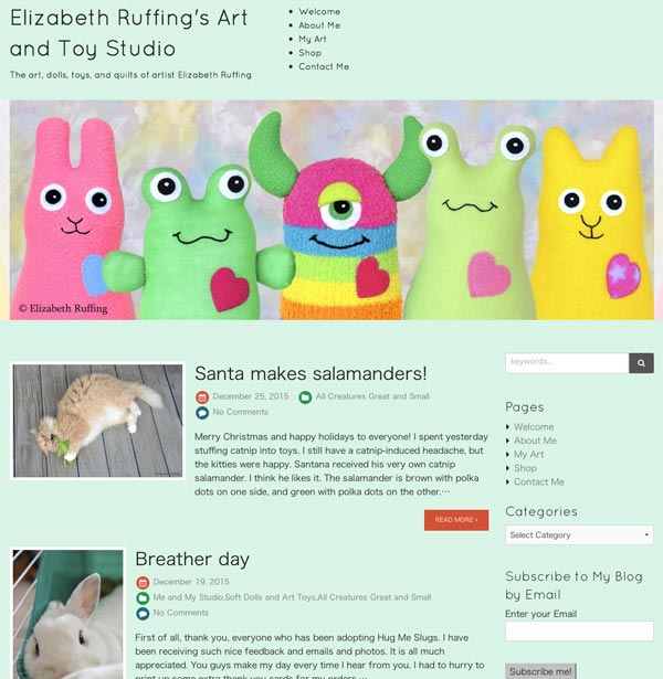 Blog screenshot with Hug Me Bunny, Toad, Monster, Slug, Kitten by Elizabeth Ruffing