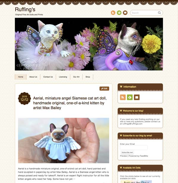 Ruffing's Blog screenshot with Pixie Kitten fairy cat art dolls by Max Bailey and Elizabeth Ruffing