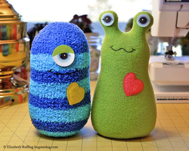 Hug Me Monster and Hug Me Slug stuffed toys in progress by Elizabeth Ruffing