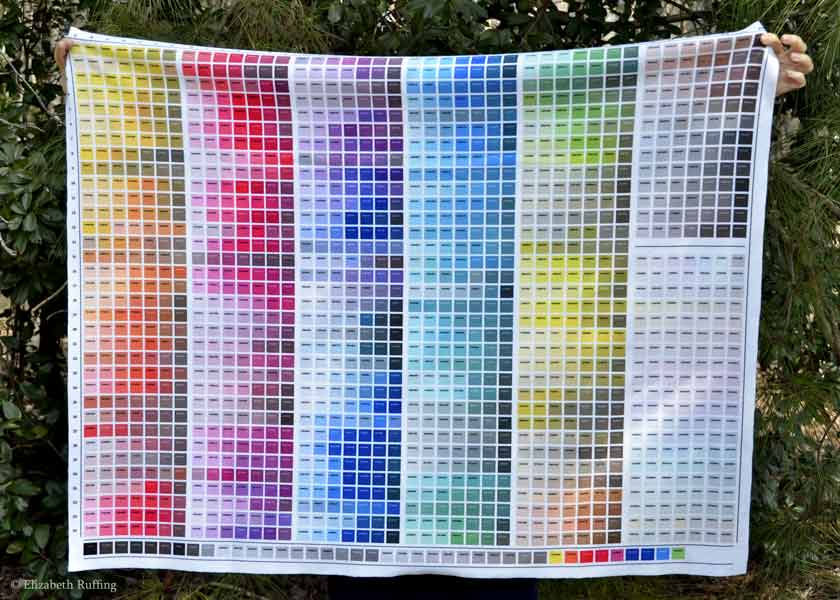 Custom fabric color map printed on fleece from Fabric on Demand by Elizabeth Ruffing