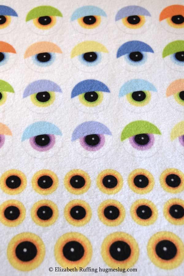 Custom fabric printed eyeballs on fleece from Fabric on Demand by Elizabeth Ruffing