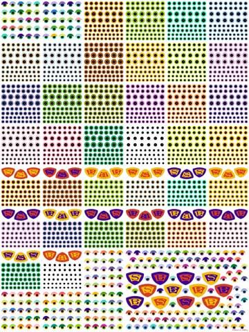 Custom fabric printed eyeballs and emblems by Elizabeth Ruffing