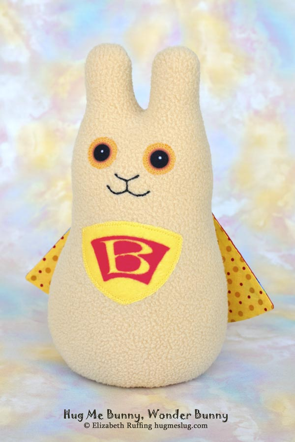 Wonder Bunny, Hug Me Bunny plush stuffed animal art toy by Elizabeth Ruffing