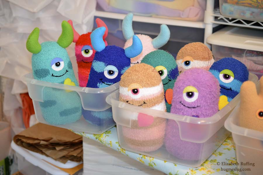 Hug Me Monsters, art toys in progress, by Elizabeth Ruffing