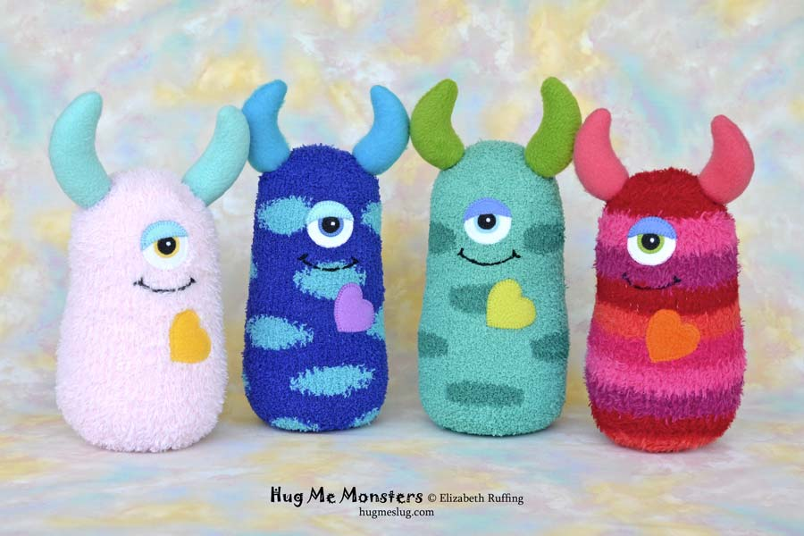 Hug Me Monsters, sock doll art toys by Elizabeth Ruffing
