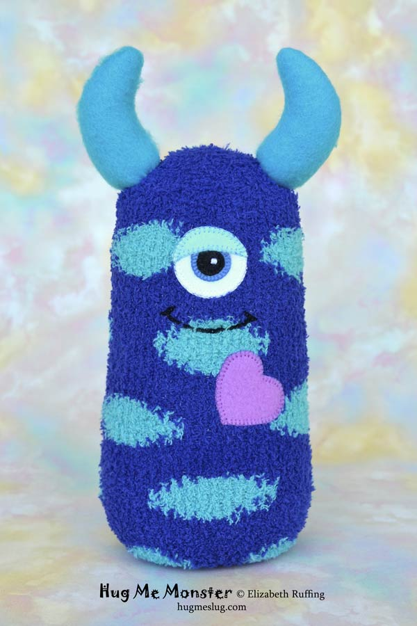 Hug Me Monster, sock doll art toy, royal blue and turquoise by Elizabeth Ruffing