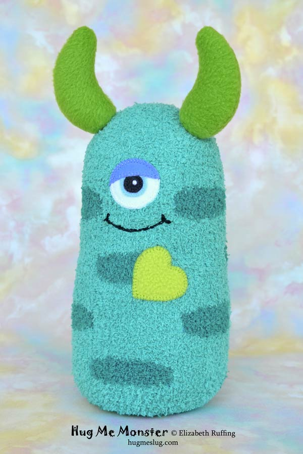 Hug Me Monster, sock doll art toy, teal by Elizabeth Ruffing