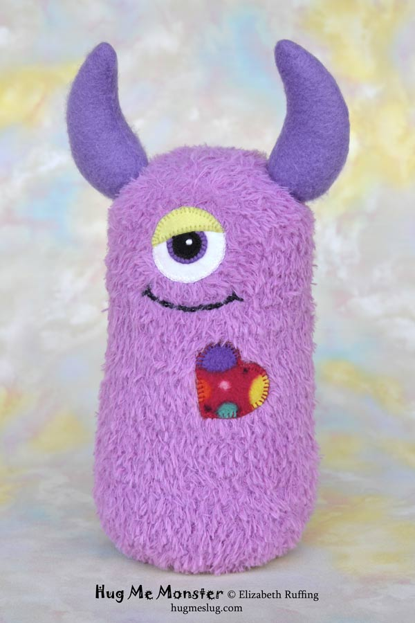 Hug Me Monster, sock doll art toy, lavender by Elizabeth Ruffing