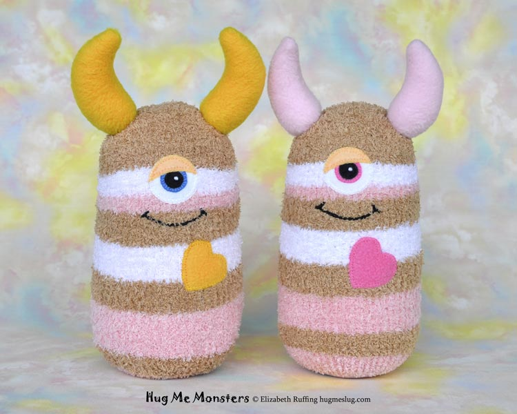 Hug Me Monsters, sock doll art toys, pink and tan striped, by Elizabeth Ruffing