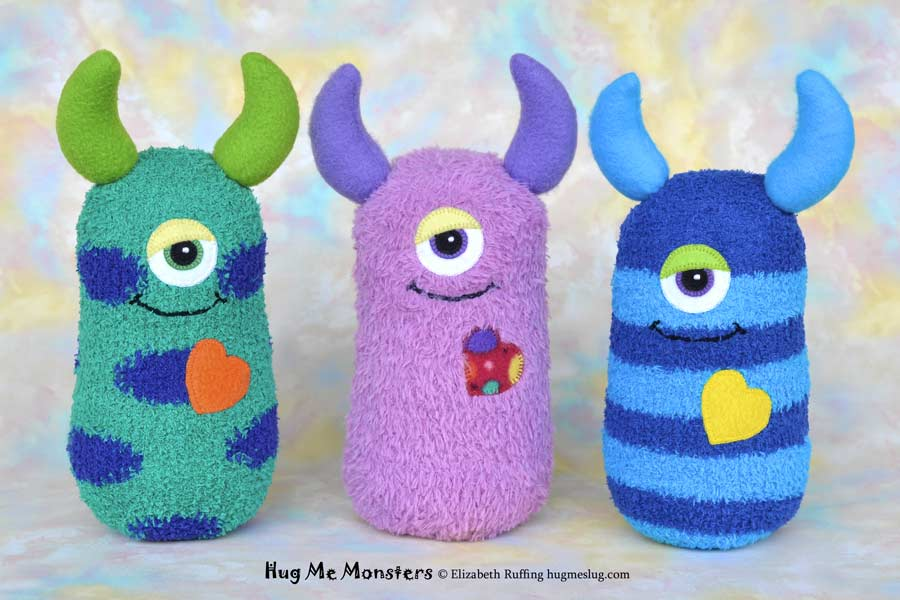 Hug Me Monsters, sock doll art toys, by Elizabeth Ruffing
