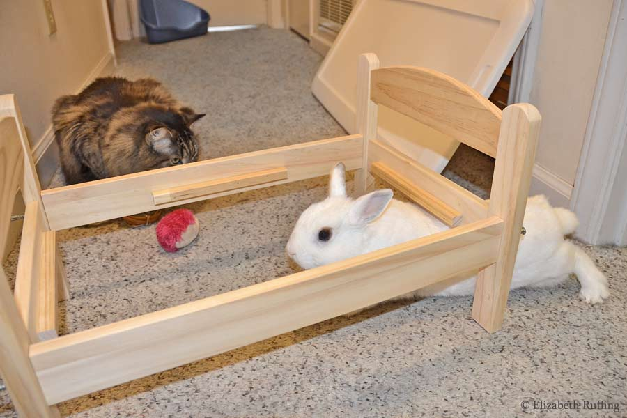 Oliver Bunny helping assemble his IKEA doll bed, by Elizabeth Ruffing