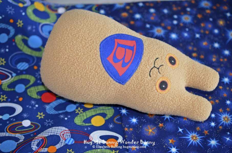 Wonder Bunny, Hug Me Bunny plush toy in progress by Elizabeth Ruffing