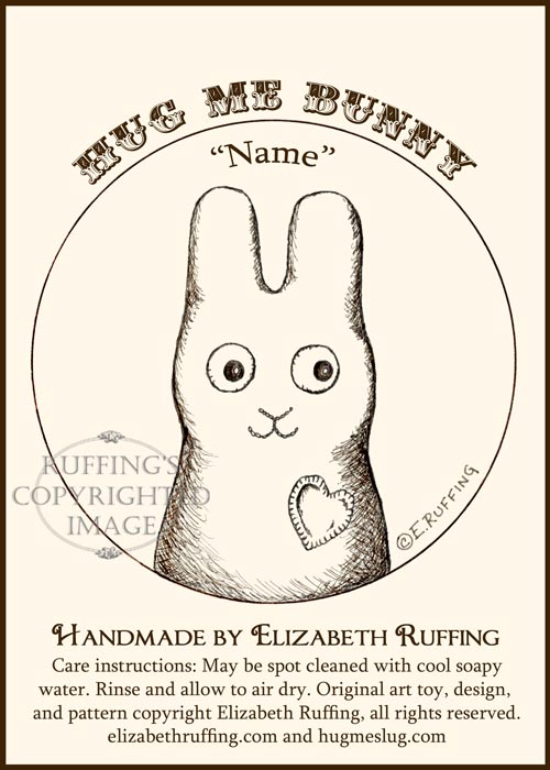 Hug Me Bunny hang tag with pen-and-ink art by Elizabeth Ruffing