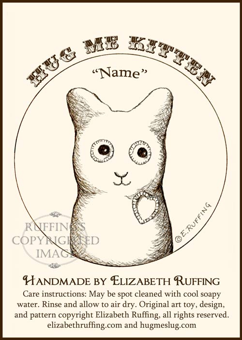 Hug Me Kitten hang tag by Elizabeth Ruffing