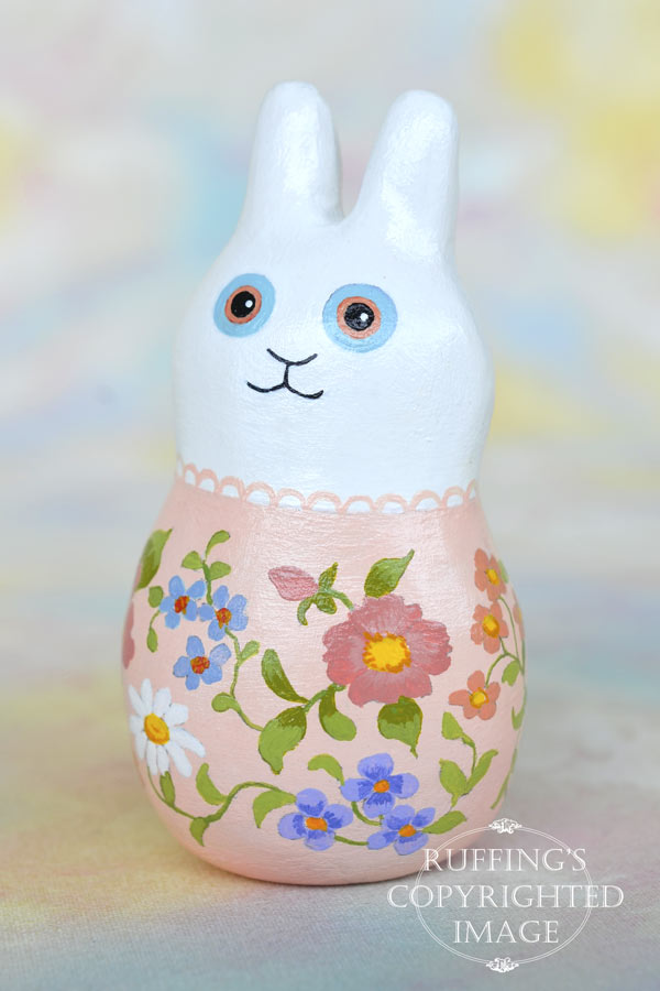 Jeanina Jingles, original, one-of-a-kind miniature handmade white bunny rabbit art doll figurine by artist Elizabeth Ruffing
