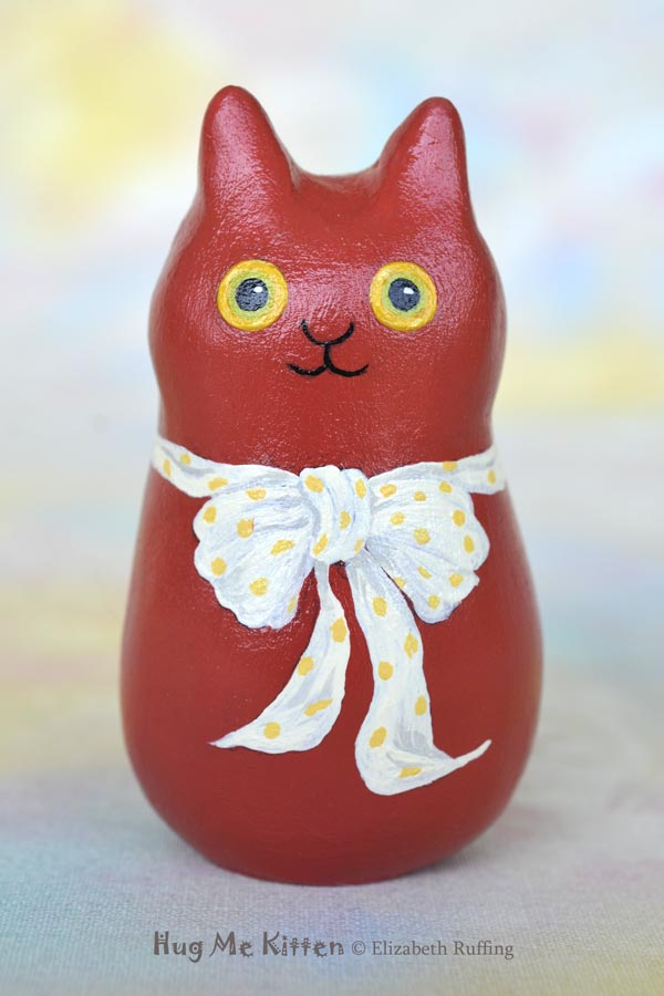 Nell, miniature cat art doll figurine, original one-of-a-kind red cat with a bow, by artist Elizabeth Ruffing