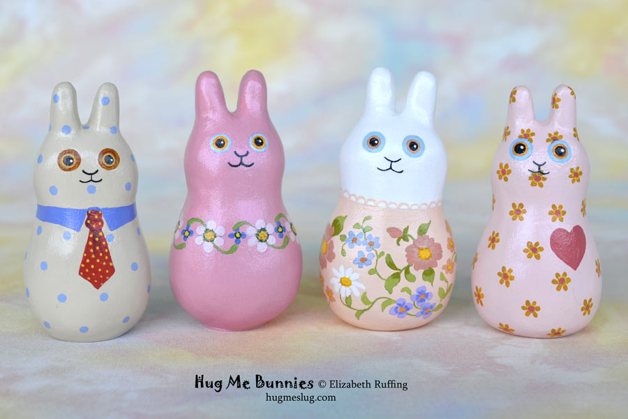 Hug Me Bunny Rabbit figurines by Elizabeth Ruffing