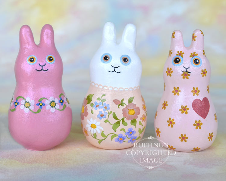 Buttons Bunnyton, original, one-of-a-kind miniature handmade peach-pink floral bunny rabbit art doll figurine by artist Elizabeth Ruffing, with rabbit friends