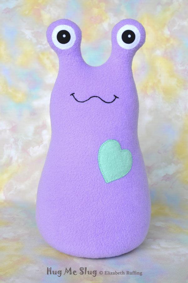 Handmade lavender Hug Me Slug Stuffed Animal Plush Toy, 12 inch, by artist Elizabeth Ruffing's