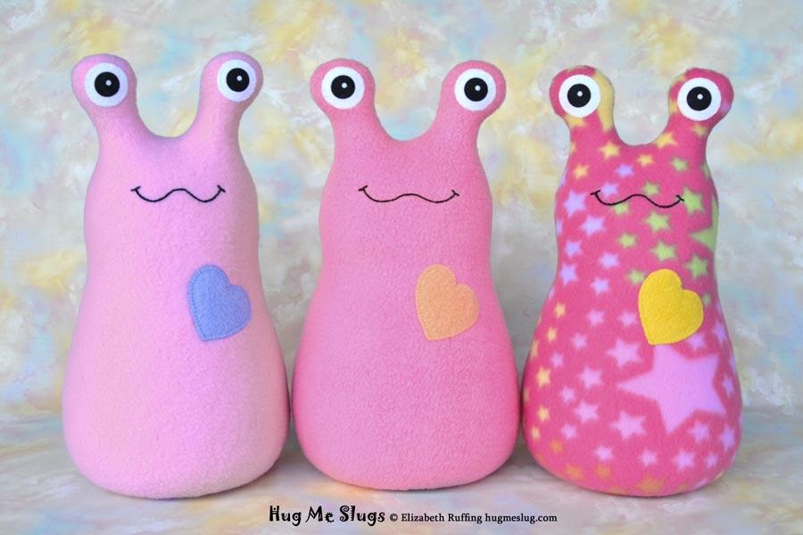 12 inch Handmade Lavender-pink, Medium Pink, and Pink Star Hug Me Slug Stuffed Animal Plush Art Toys by artist Elizabeth Ruffing