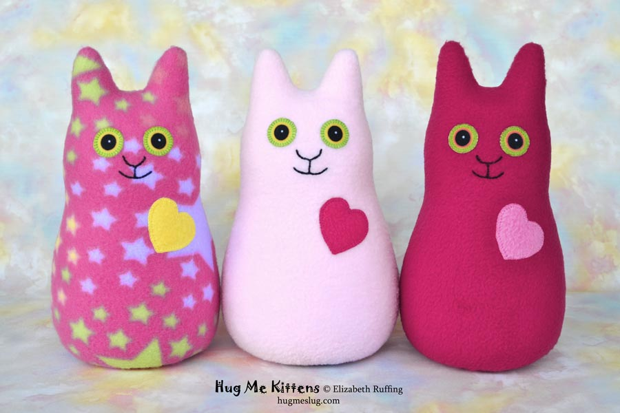 Hug Me Kittens, stuffed kitty cat toys by Elizabeth Ruffing