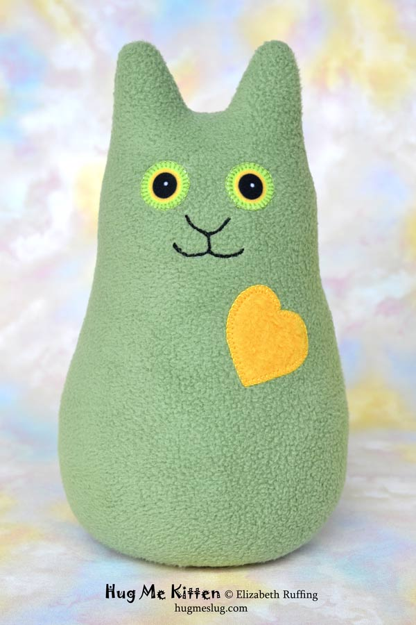 Sage green Hug Me Kitten, stuffed kitty cat toy by Elizabeth Ruffing